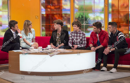 John Stapleton and Kate Garraway with Union J - Jaymi Hensley, George Shelley, Josh Cuthbert and Jamie Hamblett