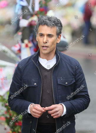 Stock Image of Matthew Amroliwala, presenter of Crimewatch, filming close to the scene where Lee Rigby was murdered.