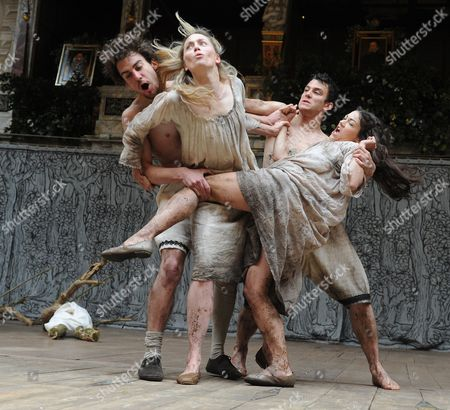 Joshua Silver as Demetrius, Sarah MacRae as Helena, Olivia Ross as Hermia, Luke Thompson as Lysander