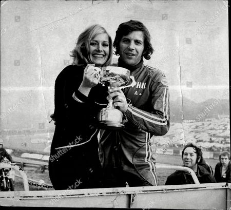 Phil Read Motorcycle Rider With Television Jenny Lee Wright After Winning The Evening News Race At Brands Hatch.