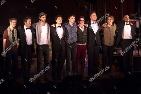 Glenn Carter (Performer), Lee Mead (Performer), David Thaxton (Performer), Matt Willis (Performer)  and members of the band during the curtain call on Press Night