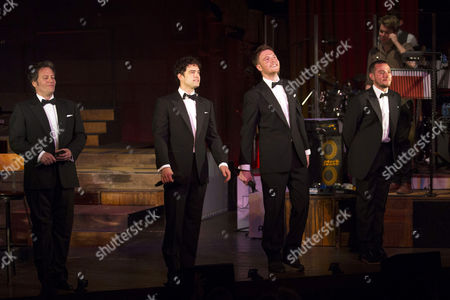 Glenn Carter (Performer), Lee Mead (Performer), David Thaxton (Performer) and Matt Willis (Performer) during the curtain call on Press Night