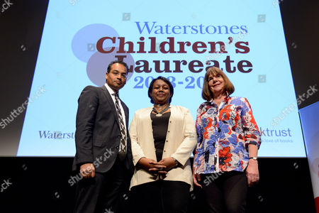 Krishman Guru-Murthy,Malorie Blackman and outgoing Children's Laureate, Julia Donaldson.