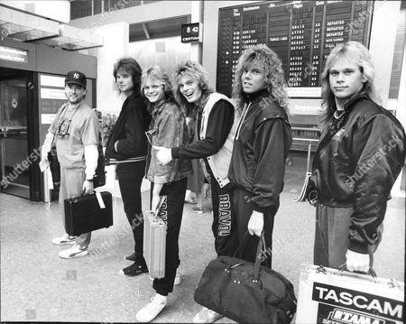Europe before boarding a flight to Japan, Sweden - John Norum, Mic Michaeli, John Leven, Joey Tempest and Ian Haugland