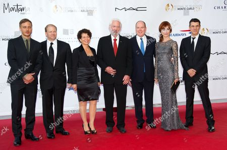 Stock Picture of Cast of 'Crossing Lines' Tom Wlaschiha, Edward Allen Bernero, Rola Bauer, Donald Sutherland, Prince Albert II of Monaco, Gabriella Pession and Marc Lavoine