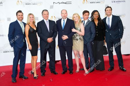 Daniel Goddard, Sharon Case, Prince Albert II, Melody Thomas Scott, Christian LeBlanc and Tonya Lee Williams