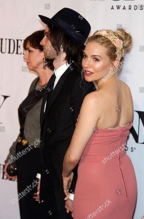Tom Sturridge with mother Phoebe Nicholls, Sienna Miller