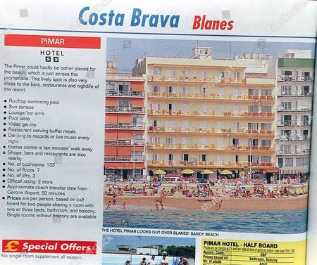 THE PIMAR HOTEL ON THE COSTA BRAVA AS FEATURED IN THE SKYTOURS HOLIDAY BROCHURE