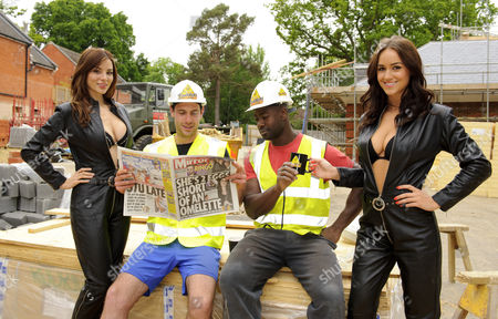 Kacey Barnfield and Rosie Jones with workmen