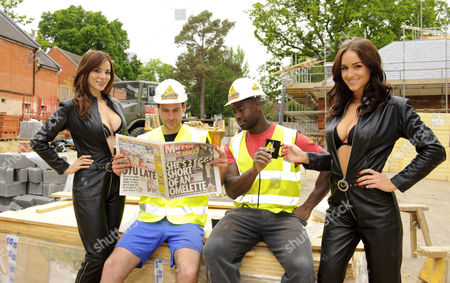 Stock Photo of Kacey Barnfield and Rosie Jones with workmen