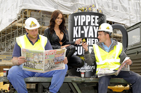 Rosie Jones and workmen