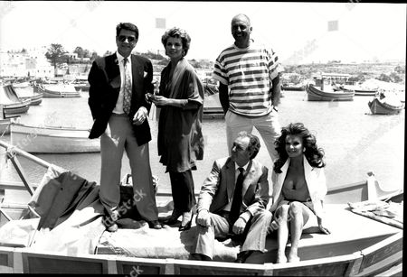 The Cast Of The Television Programme Howard's Way Left To Right Standing Tony Anholt Jan Harvey Stephen Yardley And Sitting Ivor Danvers Plus Kate O'mara.