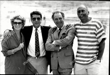 The Filming Of The Television Programme Howard's Way In Malta With The Cast . Left To Right Jan Harvey Tony Anholt Ivor Danvers And Stephen Yardley.