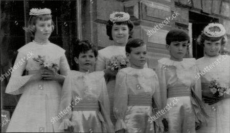 Wedding Of Lady Anne Coke And Colin Tennant At Village Church Of Holkham In Norfolk Pictured L-r Back Row Lady Sarah Coke Hon. Catherine Tennant Miss Juliet Harvey L-r Front Row Christopher Tennant Julien Birch And James Hambro.