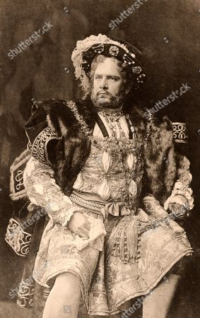 William Charles James Terriss (1847-1897) English actor killed at the stage door of Adelphi, London, 16 December 1897, by an actor with a grudge. Father of actress Ellaline Terris. Here as the king in the history play Henry VIII by William Shakespeare. Photogravure c1895.