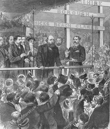 Election campaign, November/December 1885. Lord Salisbury, Conservative Prime Minister addressing the Conservative association at Newport, Monmouthshire. The Liberals under Gladstone defeated the Conservatives. From The Illustrated London News, 17 October 1885.
