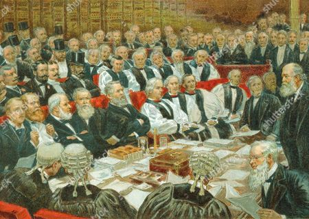 Stock Photo of Robert Arthur Talbot Gascoyne Cecil, 3rd Marquis of Salisbury (1830-1903) British Conservative statesman. Prime Minister 1885, 1886, 1895-1902. Salisbury addressing the House of Lords. Chromolithograph c1897.