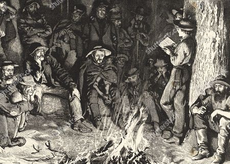 Listening to The Old Curiosity Shop in the West. Illustration for Bret Hart's poem 'Little Nell', based on a popular anecdote. When Charles Dickens' book was published in serial form in 1841 boats arriving in New York were beseiged by people wanting the next episode and it was then passed westwards. Engraving.
