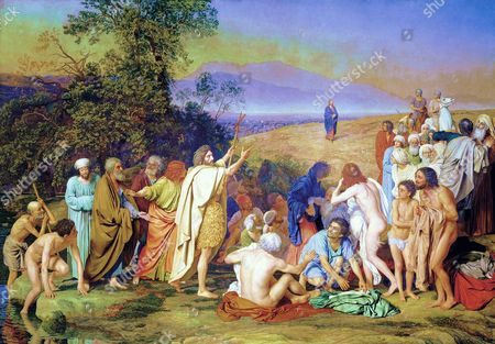 The Appearance of Christ before the People', 1837-1857. Oil on canvas. Masterpiece of Alexander Ivanov (1806-1858), Russian painter. In centre foreground John the Baptist, surrounded by the newly baptised, points towards Christ.