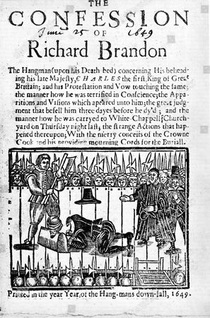 The Confession of Richard Brandon, London, 1649. Execution of Charles I of England in 1649 by Brandon (d1649) executioner of a number of Royalists as well as of the King.