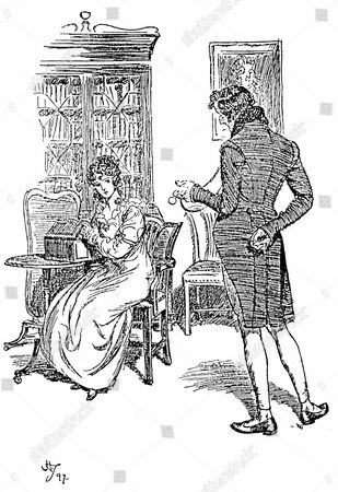 Stock Photo of Jane Austen Persuasion. Austen's last novel published 1818. Anne Elliot complimented by her cousin William Elliot during her stay in Bath. Illustration by Hugh Thomson 1897. Engraving.