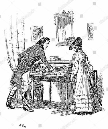Jane Austen Persuasion. Austen's last novel published 1818. Captain Wentworth giving Anne Elliot his note of declaration. Illustration by Hugh Thomson, 1897. Engraving.