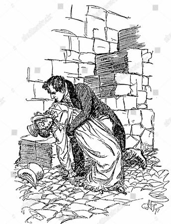 Stock Image of Jane Austen Persuasion. Austen's last novel published 1818. Louisa Musgrove falls from Cobb at Lyme Regis and Captain Wentworth shows his concern. Illustration by Hugh Thomson, 1897. Engraving.