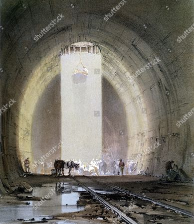 Kilsby Tunnel on London-Birmingham Railway: working shaft on 8 July 1837. Engineer R Stephenson. From J Bourne Drawings of the London and Birmingham Railway, 1839