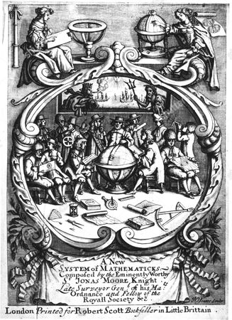 Frontispiece of A New System of Mathematicks, Jonas Moore, (London, 1681). This book, intended for the mathematical school at Christ's Hospital, it was uncompleted on Moore's death and was finished by John Flamsteed (1646-1719) and John Perkins. It was a textbook for the boys of the school learning surveying and navigation, skills needed to aid the nation's trade and exploration. Engraving.