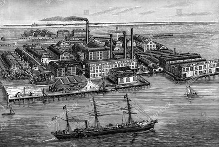 India Rubber, Gutta Percha & Telegraph Works Company, Silvertown, London. Wood engraving 1887