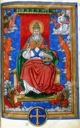 God the Father, 1545. God enthroned, hand raised in blessing. At the corners are the symbols of the four Evangelists: Angel of St Matthew, Lion of St Mark, Eagle of St John, and Ox of St Luke. Miniature from a 16th century French Missal with text of the Lyons liturgy.