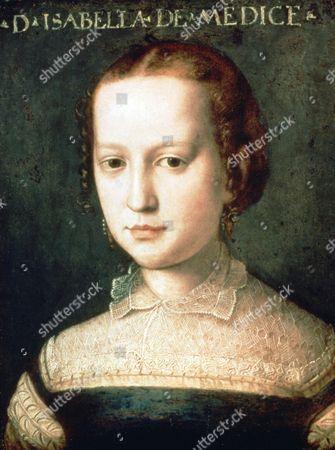 Isabella Romola de'Medici (1542-1576) daughter of Cosimo I de'Medici. Head and shoulders portrait by Agnolo de Cosimo (1503-1572) called Il Bronzino. Strangled on orders of her husband, Paolo Giordano Orsini.