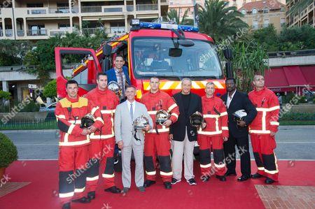 Charlie Barnett, Eamonn Walker and David Eigenberg with the Monaco Fire Brigade