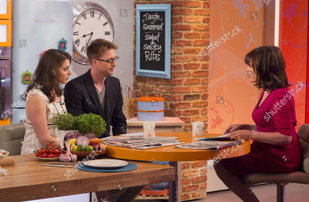 Stock Image of Katie Nicholl and Olly Kendall with Lorraine Kelly
