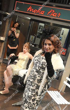 Stock Image of Badria Timimi as Waitress, Sarah Ridgeway as Truly, Ishia Bennison as Mrs Kidman