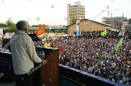 Dr Saeed Jalili, Secretary of the Supreme National Security Council campaigning at the Shahid Heydarnia Stadium, Tehran