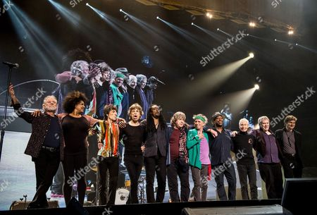 The Rolling Stones -  Chuck Leavell, Lisa Fischer, Ronnie Wood, Mick Jagger, Bernard Fowler, Mick Taylor, Keith Richards, Darryl Jones and Charlie Watts, Bobby Keys and Tim Ries