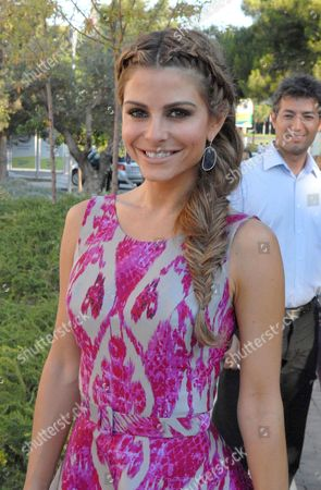 Editorial photo of Maria Menounos becomes godmother at christening of daughter of shipping magnate Leon Patistas and model Marietta Hroussala, Athens, Greece - 15 Jun 2013