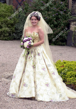 Actress Jacqueline Pirie Filming Wedding Scenes For Tv Programme Coronation Street At Arley Hall In Cheshire. Pirie Plays Character Linda Sykes.