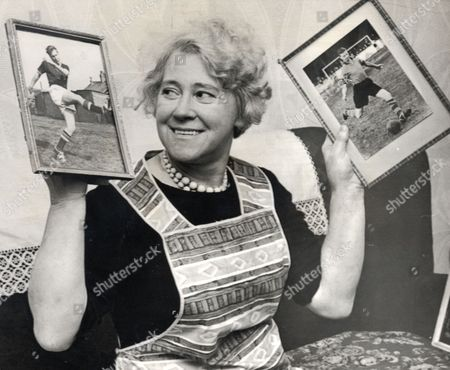 Elizabeth Charlton Mother Of Jackie Charlton And Bobby Charlton Holding Photographs Of Her Son.