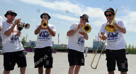 Bernie Clifton (2nd Right) With The England Band After They Were Reunited With Their Instruments At The Donbass Arena Donetsk Ukraine.