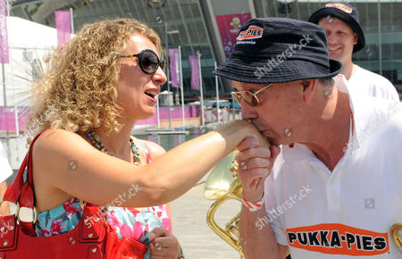 Bernie Clifton Charms Olena England Band Reunited With Their Instruments At The Donbass Arena Donetsk Ukraine.. Bernie Clifton Charms Olena Sagaevych 39 After The England Band Were Reunited With Their Instruments At The Donbass Arena Donetsk Ukraine.