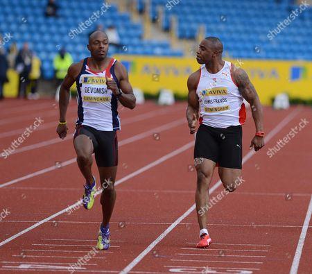 100m Heats: Mark Lewis Francis Ahead Of Merlon Devonish. 22nd June.2012. Birmingham. Uka Champs Birmingham