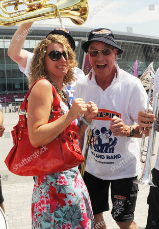 Bernie Clifton Charms Olena Sagaevych 39. England Band Reunited With Their Instruments At The Donbass Arena Donetsk Ukraine. - 12.06.12.