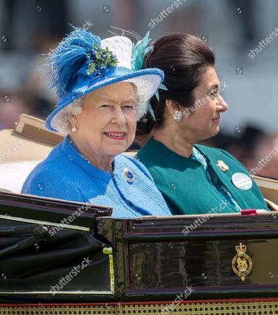Queen Elizabeth II with Princess Sarvath El Hassan