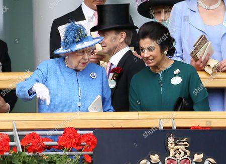 Queen Elizabeth II and Princess Sarvath El Hassan