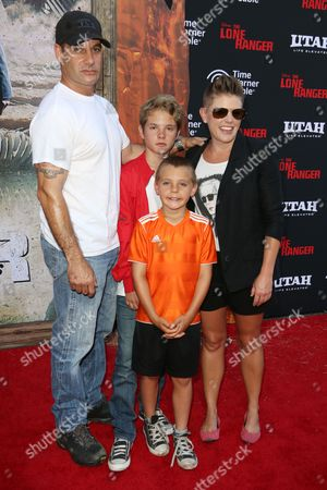 Adrian Pasdar and Natalie Maines with their sons
