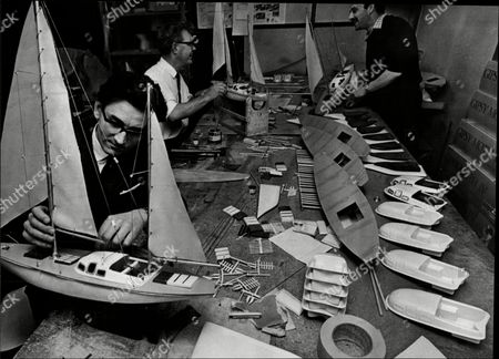 Children's Toys Workers Making Gypsy Moth Model Ship Managing Director Frank Allen At Front.