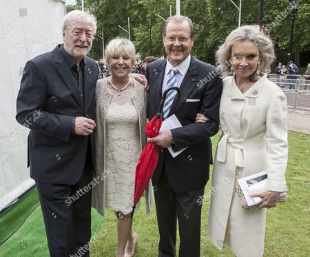 Sir Michael Caine and Geraldine Winner with Sir Roger Moore and Kristina Tholstrup