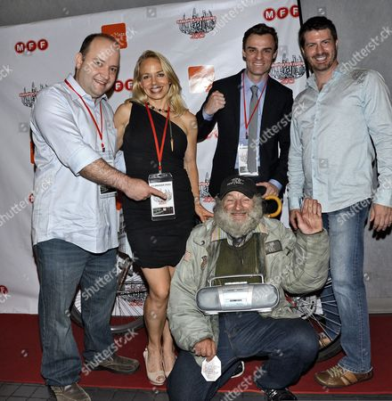 Stock Photo of Craig ' Radioman ' Castaldo with cast of 'On the Radioman '